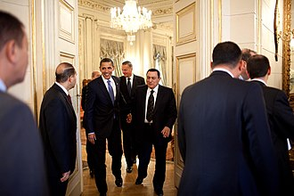 Egypt–United States relations - Egyptian President Mubarak with US President Barack Obama in Cairo, Egypt, 4 June 2009.