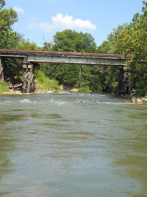 Obion River - CSX railroad bridge crossing Middle Fork of Obion River NW of Gleason, Tennessee