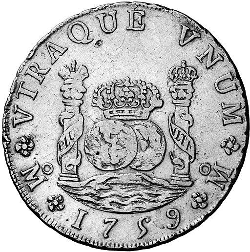 Ocho reales de plata 1759 (reverso)