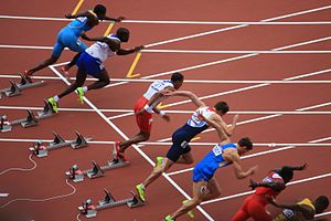 Athletics at the 2012 Summer Olympics – Men's 110 metres hurdles - Start of heat 3, after Ali Kamé was disqualified for false starting