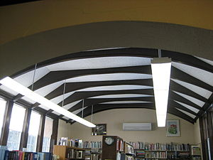 Oregon Public Library - The ceilings, with their exposed beams, are commonly associated with Arts and Crafts.