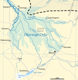 Okavango Delta - Map of the delta with basin boundary as dashed line