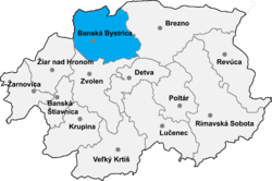 Location of Banska Bistricas apriņķis