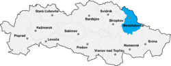 Localisation du district de Medzilaborce  dans la région de Prešov (carte interactive)