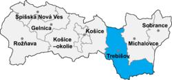 Location of Trebišovas apriņķis