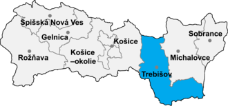 Bačka (village) - Location of Trebišov District in the Region