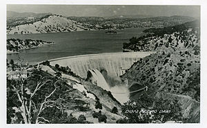 New Don Pedro Dam - The first Don Pedro Dam, later to be submerged under the new reservoir