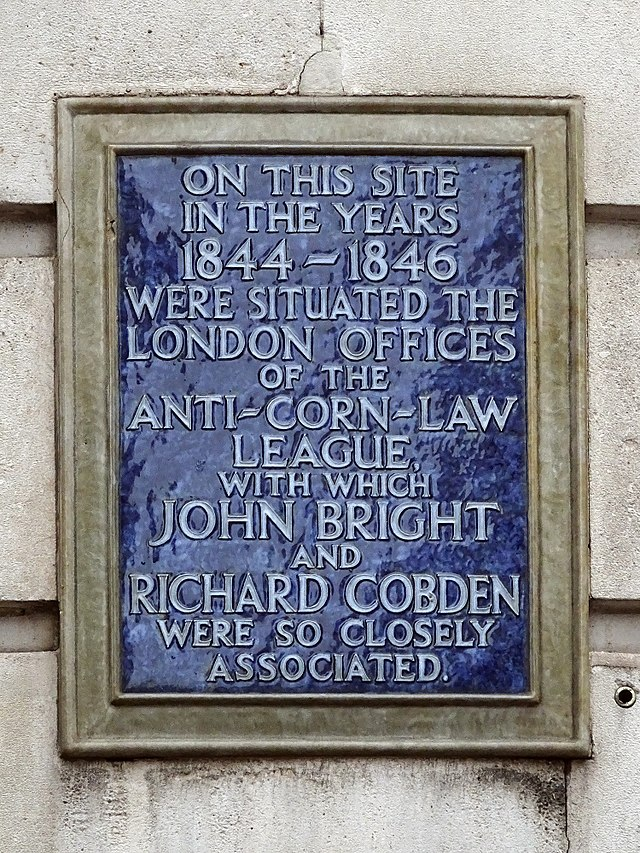 Photo of Richard Cobden and John Bright blue plaque
