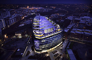 NOMA (Manchester) - One Angel Square at night. Completed in March 2013.