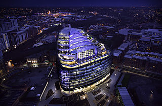 One Angel Square office building in Manchester, England