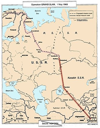 """1960 U-2 incident - U-2 """"GRAND SLAM"""" flight plan on 1 May 1960, from CIA publication 'The Central Intelligence Agency and Overhead Reconnaissance; The U-2 And Oxcart Programs, 1954–1974', declassified 25 June 2013."""