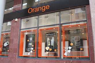 Media of Armenia - A window display at Orange's flagship Northern Avenue branch advertises various smartphones and a 3G Internet WiFi router. In November 2009, Orange became Armenia's third mobile telecommunications provider, offering a very competitively priced 3G Internet plan.