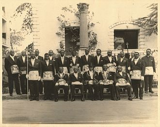 James A. A. Pierre - Some members of Oriental Lodge in the early mid 1960s including Chief Justice Pierre who is second from left of those sitting in the front row