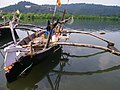 Outrigger fishing boat, Golap-Ranpar, Ratngiri District, Maharashtra, India.jpg