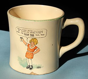 Little Orphan Annie (radio) - Ovaltine cup manufactured exclusively for the Wander Company, makers of Ovaltine.