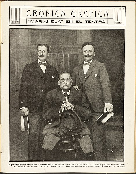 File:Pérez Galdós y los hermanos Álvarez Quintero.jpg