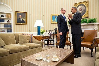 International reactions to the annexation of Crimea by the Russian Federation - President Barack Obama talks with Ukrainian Prime Minister Arseniy Yatsenyuk at the conclusion of their bilateral meeting in the Oval Office, March 12, 2014.