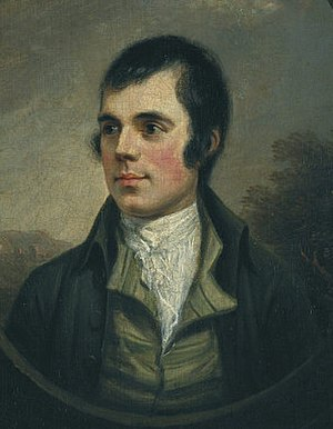 Robert Burns - The best-known portrait of Burns,   by Alexander Nasmyth, 1787 (detail)