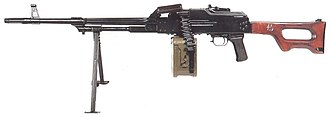 PK machine gun - Original PK. Note the partially-fluted barrel and long-slotted flash hider.
