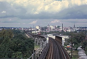 Bullet (interurban) - Philadelphia Suburban Transportation Co. Strafford Car on long trestle at Norristown, PA on September 28, 1969