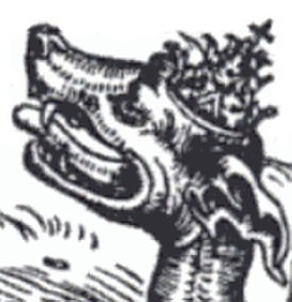 The Beast (Revelation) - Beast wearing papal tiara from Luther's translation of the New Testament from 1522.