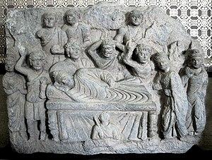 Reclining Buddha - Buddha in parinirvana, Gandhara art, 2nd or 3rd century