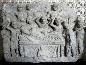 Parinirvana - The death of the Buddha, or Mahaparinirvana, Gandhara 2-3rd century.