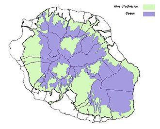 Réunion National Park - Core area (blue) and buffer zone (green) of Réunion National Park