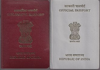 Indian Foreign Service - An Indian Diplomatic Passport and an Official Passport. As opposed to the deep blue passport issued to ordinary Indian citizens, the diplomatic passport is maroon-coloured with golden 'Diplomatic Passport' engraved on it in English and Hindi.