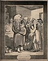 Patients consulting an obese quack. Aquatint by T. Rowlandso Wellcome V0011054.jpg