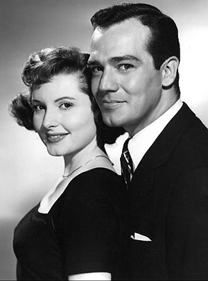 Val Dufour - Dufour as Zack James with Patricia Barry in First Love, 1954.