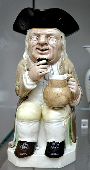 Lead-glazed earthenware - Toby jug made by Ralph Wood the Younger, Burslem, ca. 1782-1795 (Victoria & Albert Museum)