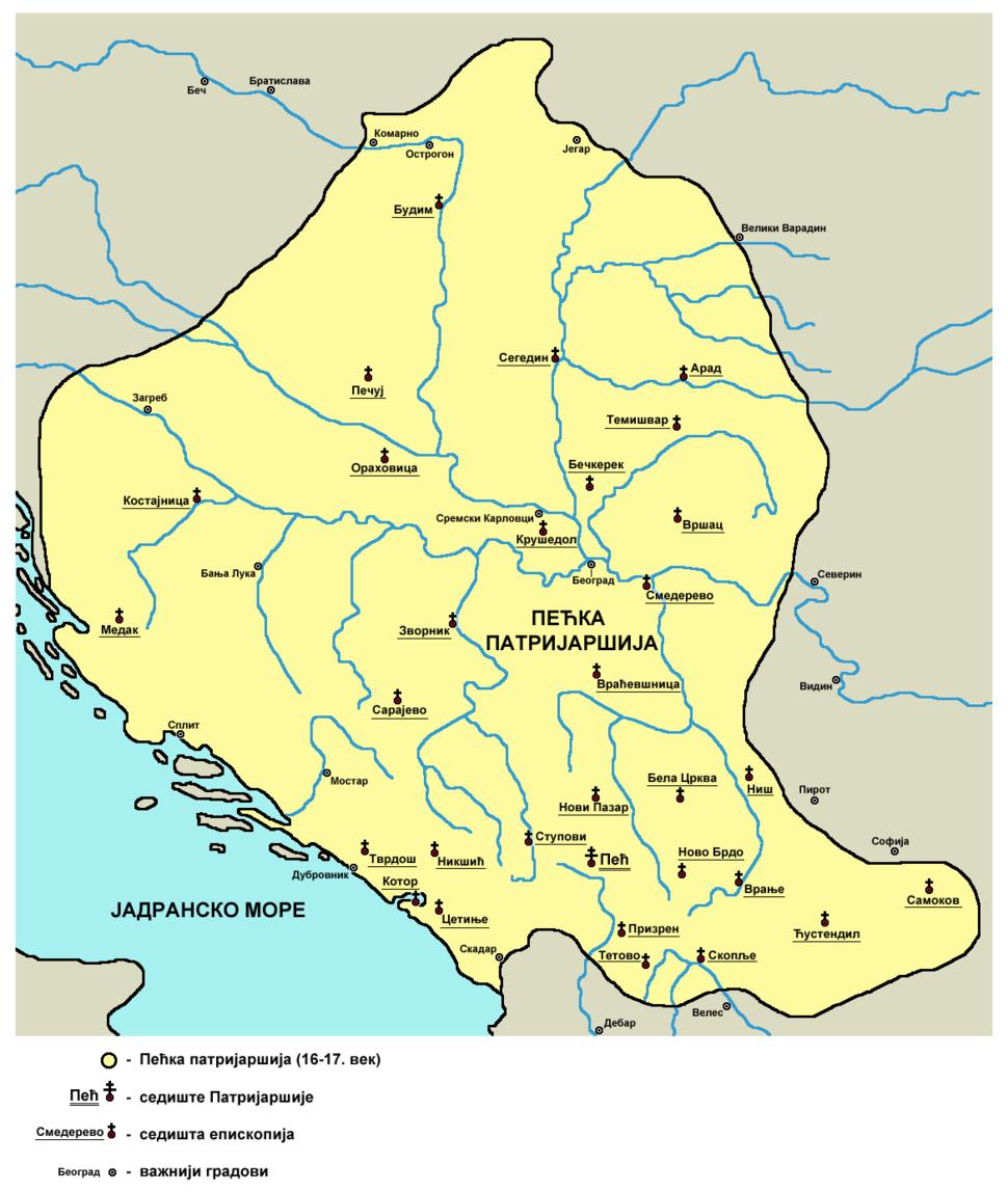 Pecka patrijarsija mapa sr