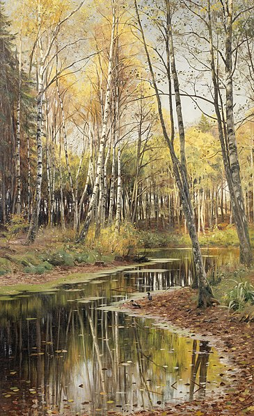 File:Peder Mork Mönsted Autumn in the birchwood.jpg