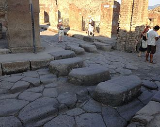 Pedestrian crossing - Pedestrian crossings were common in the Roman city of Pompeii.