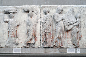 Athena - A new peplos was woven for Athena and ceremonially brought to dress her cult image (British Museum).