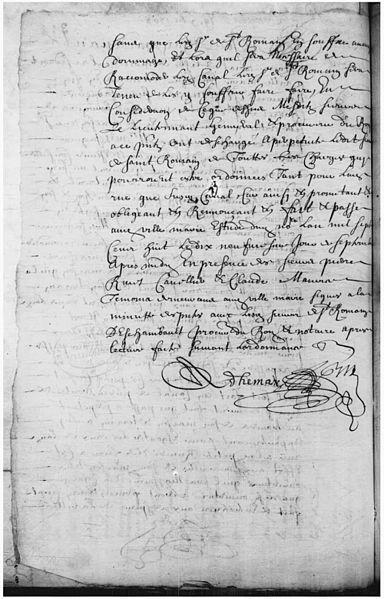File:Permission accordee par Mr. St Romain de faire passer un canal a travers de sa maison de Ville-Marie pour egouter les eaux de la rue St Paul ce 19 7bre 1708 - B.jpg