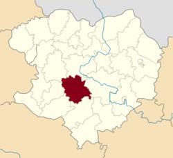 Vị trí của huyện Pervomaiskyi trong tỉnh Kharkiv