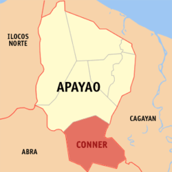 Map of Apayao showing the location of Conner
