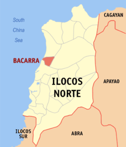Map of Ilocos Norte showing the location of Bacarra