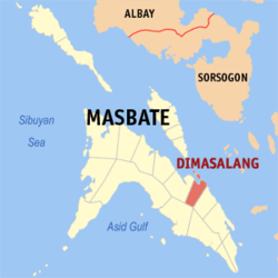 Map of Masbate with Dimasalang highlighted
