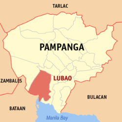 Map of Pampanga showing the location of Lubao