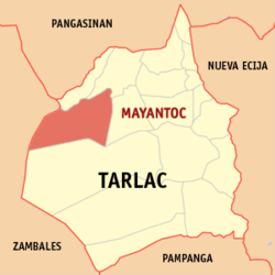 Map of Tarlac showing the location of Mayantoc.