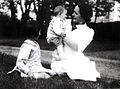 Philippe Sollers à Bordeaux dans le parc de la propriété familiale en 1937 avec sa mère et sa soeur Annie.jpg
