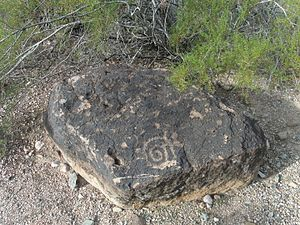 Spiral - This Petroglyph with a spiral figure carved into it was made by the Hohokams, a Native American tribe in the United States, over 1000 years ago.