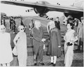 Photograph of President Truman shaking hands with the Prime Minister of India, Jawaharlal Nehru, upon Nehru's arrival... - NARA - 200153.tif
