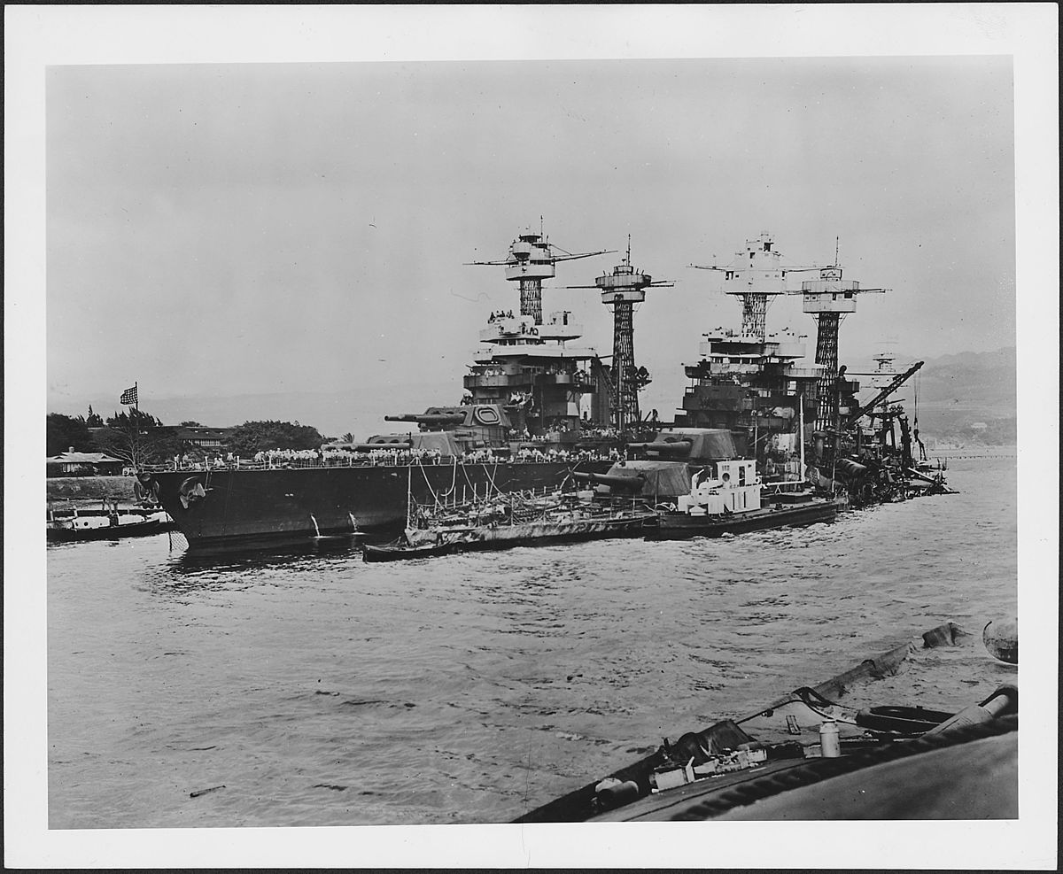 Photograph of the damage done to the USS West Virginia, sunk in the Japanese raid on Pearl Harbor - NARA - 306536.jpg