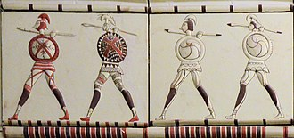 Phrygia - Phrygian soldiers. Detail from a reconstruction of a Phrygian building at Pararli, Turkey, 7th–6th Centuries BC.