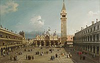 Piazza San Marco with the Basilica, by Canaletto, 1730. Fogg Art Museum, Cambridge.jpg