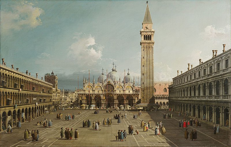 File:Piazza San Marco with the Basilica, by Canaletto, 1730. Fogg Art Museum, Cambridge.jpg